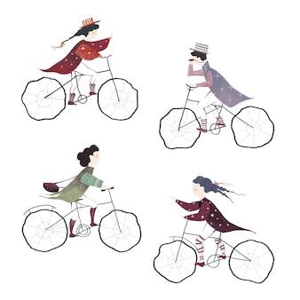 흰색 배경에 고립 된 자전거를 타는 사람들의 그려진 컬렉션