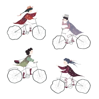 Drawn collection of people riding bicycles isolated on white background