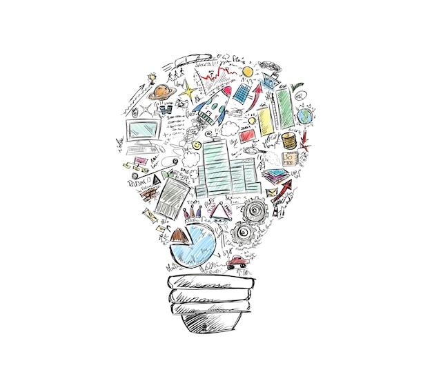 Нарисованная лампочка с множеством бизнес-символов