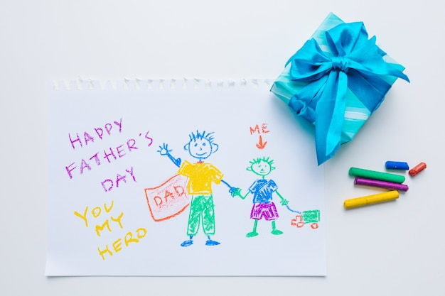 파란색 선물 상자 오버헤드 상단 보기, 해피 아버지의 날이 있는 그린 그림