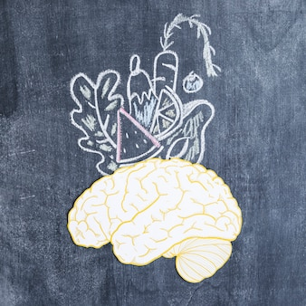 Drawn vegetables over the brain on chalkboard