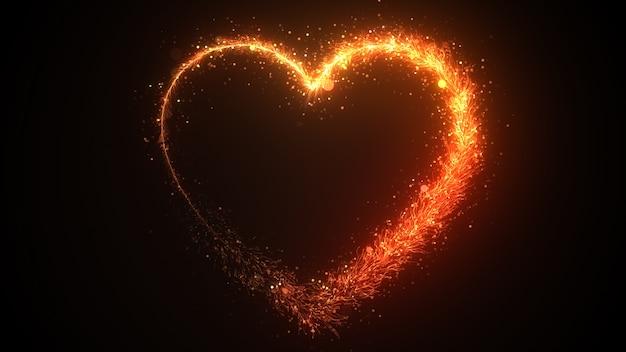 Draws a heart shape, festive effect with orange sequins 3d illustration