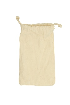 Drawstring pack template jute isolated on white. cloth bag.