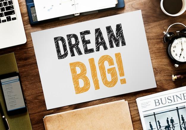 Плоская планировка dream big на белой бумаге