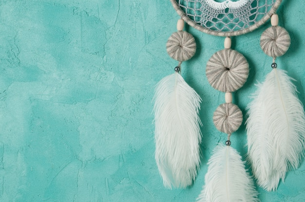 Dream catcher on aquamarine