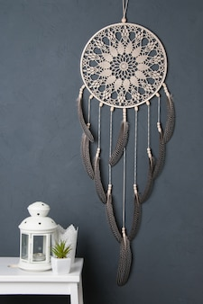 Dream catcher on gray