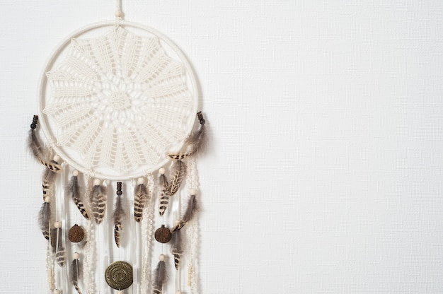 Dream catcher with brown feathers