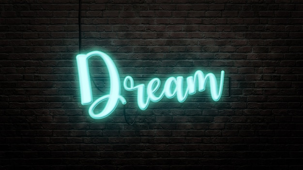 Dream neon sign emblem in neon style on brick wall background