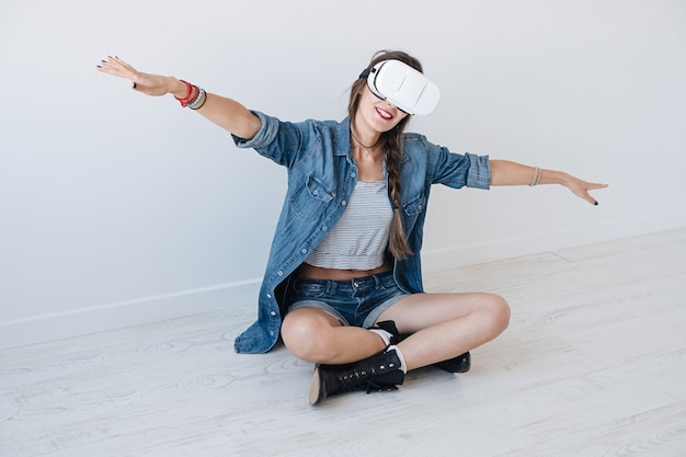 Dreaming woman using vr glasses