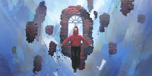 Dreams, people floating in the void, digital painting.