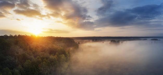 Мечтательное туманное утро в поле с лесом на пасмурном небе. с высоты птичьего полета.