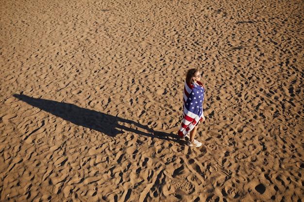 Dreamy girl at american beach