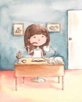 Dreamy girl at the table with a white cat