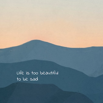 Dreamy motivational quote template for social media on landscape background