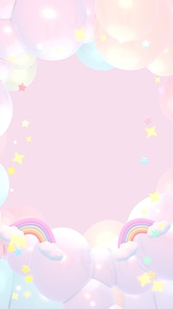 Dreamy pastel rainbow clouds and stars sky 3d rendered picture vertical