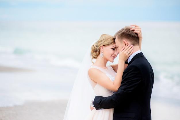 夢のような結婚式のカップルは、お互いのビーチで優しい抱擁