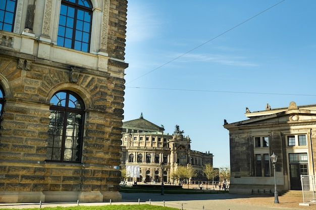Dresden, saxon switzerland, germany: a street in the center of the city and the old buildings of dresden.