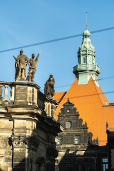 Dresden, saxon switzerland, germany: a street in the city center and the old buildings of dresden.