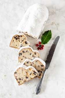 Dresdner stollen on marble table