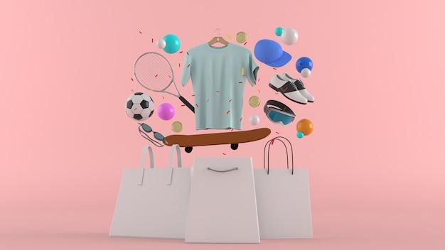 Dresses, pants, sweatshirts, hats, purses, high heels and sunglasses among colorful balls on a pink wall-3d rendering.