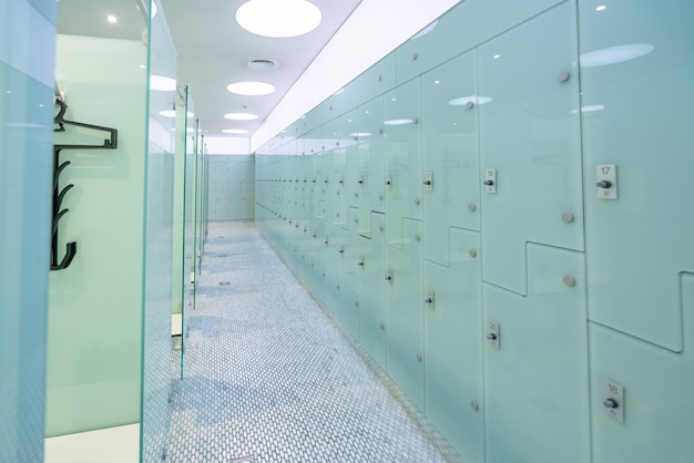 Dressing room with locker room in at modern swimming pool.