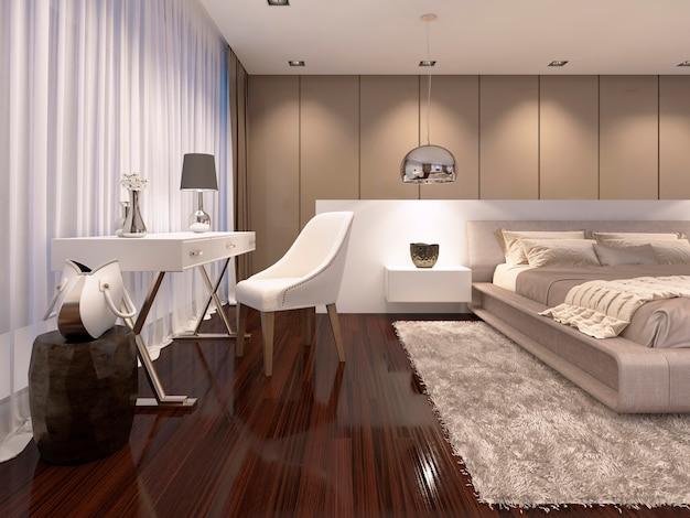 침실 스타일의 아트 데코에 흰색 거울이 있는 화장대. 3d 렌더링