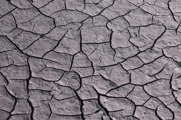 Засохшая и потрескавшаяся земля в засушливый сезон. естественный фон и текстура Premium Фотографии