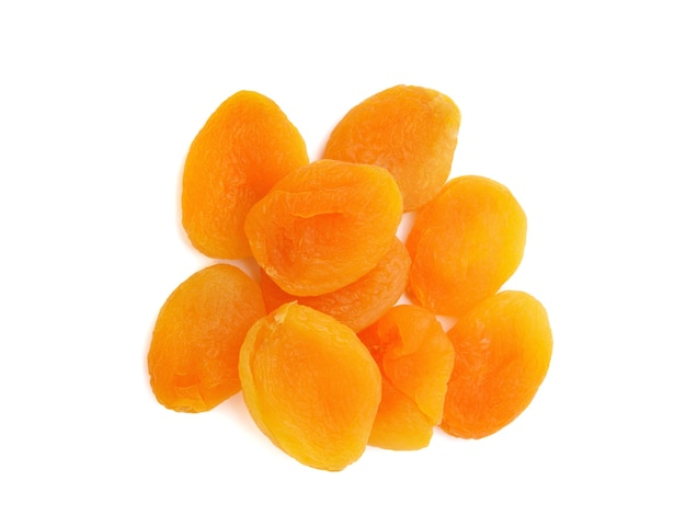 Dried apricots isolated on white background,selecttive focus
