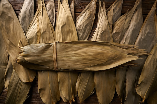 Dried bamboo leaves in brown for zongzi recipe