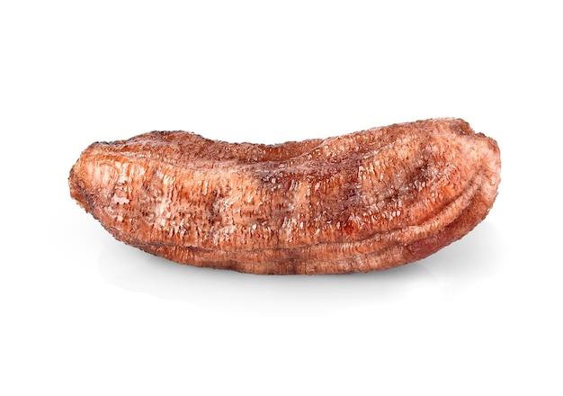 白い孤立したタイの保存食品に乾燥バナナ(蜂蜜焼きバナナ)