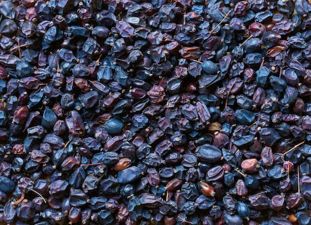 Dried barberry berries close up, background, ingredient and spice