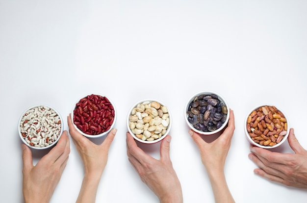 Dried beans of different varieties.