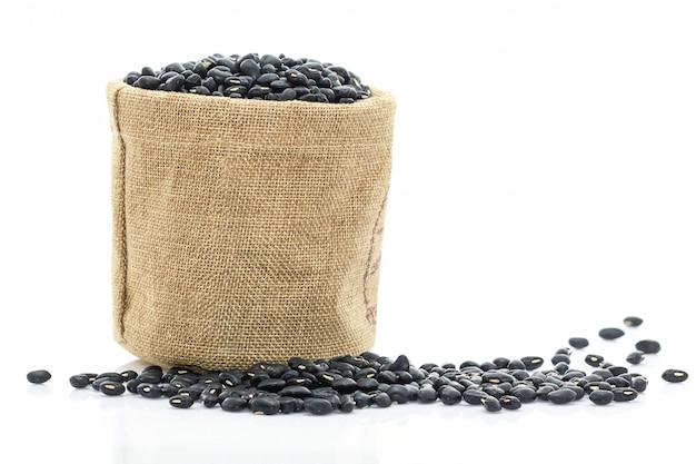 Dried black beans in sacks fodder