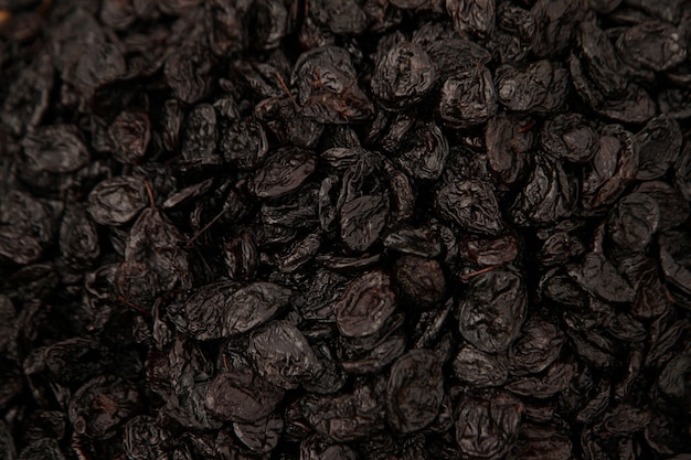 Dried black grape berries in the stock