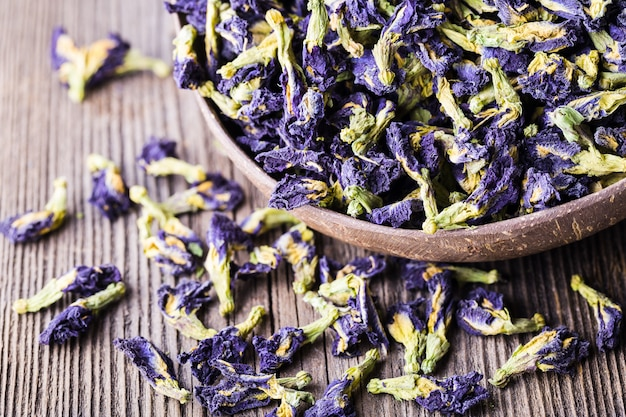 Dried blue butterfly pea flowers.