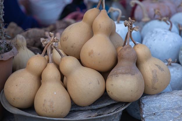 Dried bottle gourd or calabash gourd in northern market of thailand.