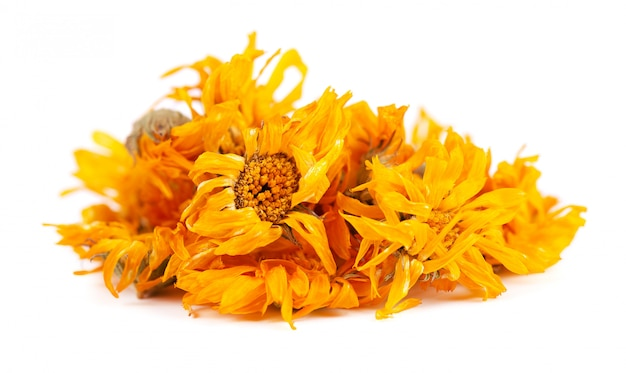 Dried calendula flowers isolated on white