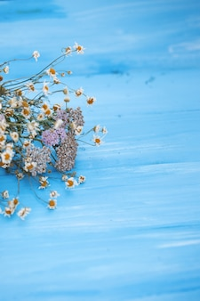 Dried chamomile flowers.