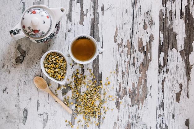 Dried chamomile and tea