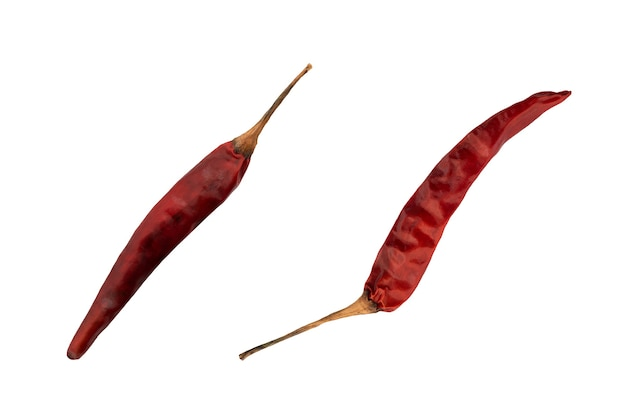 Dried chili isolated on white background with clipping path.top view,flat lay.