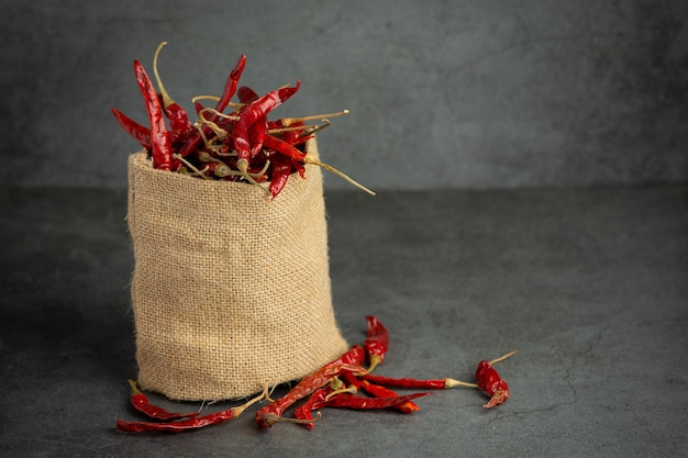 Dried chili pepper in small sack bag