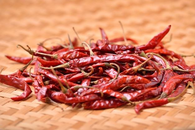 Dried chili on table Premium Photo