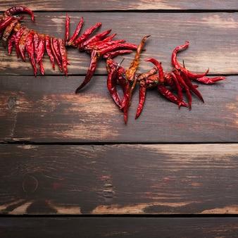 Dried chili on thread