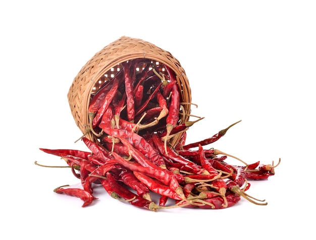 Dried chili on white wall