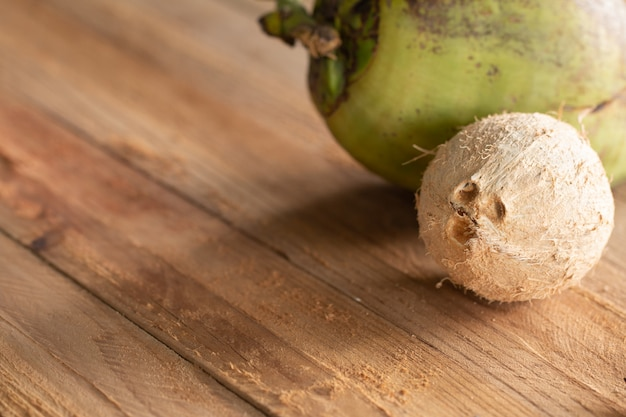 Dried coconut peel on wooden table