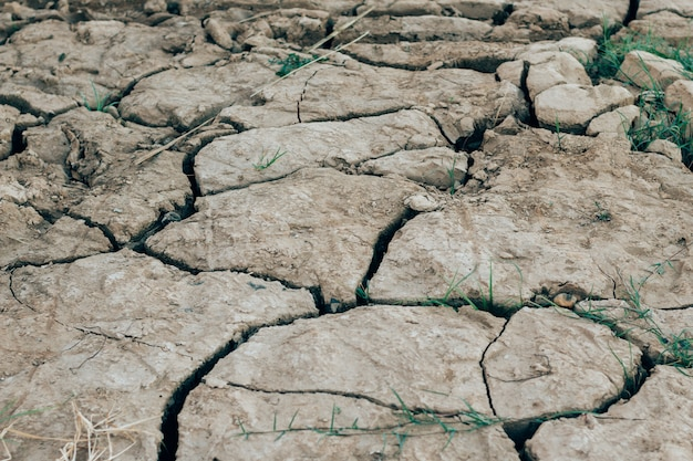 Dried cracked earth soil ground texture background.
