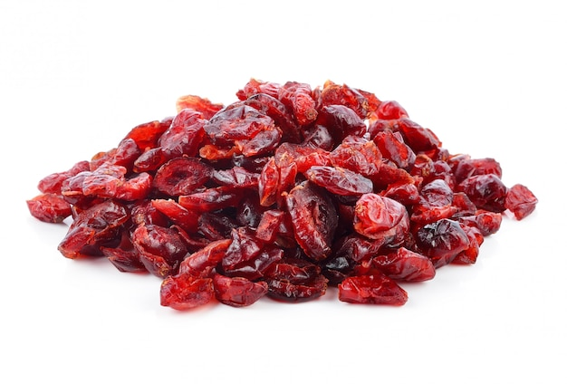 Dried cranberries isolated on white