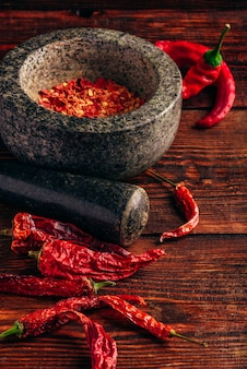 Dried and crushed red chili pepper in stone mortar