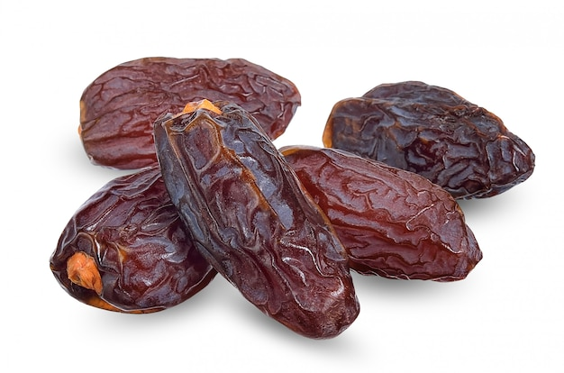 Dried date isolated on white clipping path