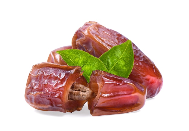 Dried date on white background